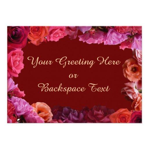 Rosen-Einladungs-personalisierte Rosen UAWG Karten Personalisierte Einladungskarten