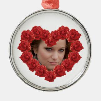 Rosen-Foto Kreis-erstklassige runde Verzierung Silbernes Ornament