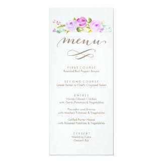 Rosen-Garten-Blumenhochzeits-Menü lila Karte