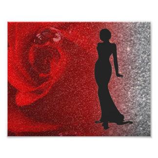 Rosen-Glitzer u. weibliche Silhouette Fotodruck