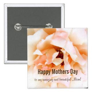 Rosen-glücklicher Mutter-Tagesknopf Quadratischer Button 5,1 Cm