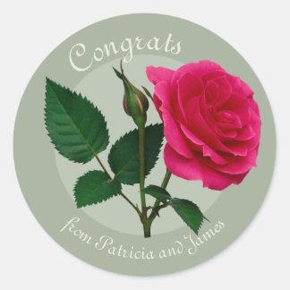Rosen-Glückwunsch-Prüfungs-Feiern CC0883 Runder Aufkleber