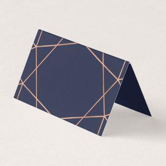 Rosen-Gold auf blauen geometrischen Platzkarte