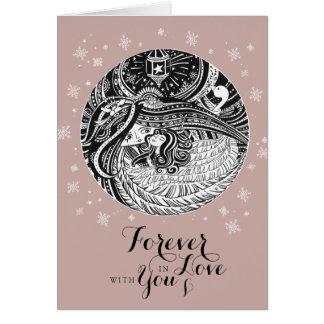 Rosen-Gold-ENGEL Valentinekarte für immer in der Karte
