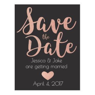 Rosen-Gold, Holzkohle, Save the Date Postkarte