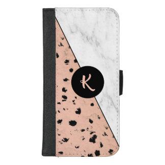 Rosen-Gold-und Marmor-Muster mit Monogramm iPhone 8/7 Plus Geldbeutel-Hülle