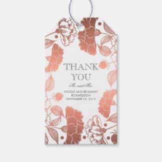 Rosen-Gold und weißer BlumenWreath - Hochzeit Geschenkanhänger