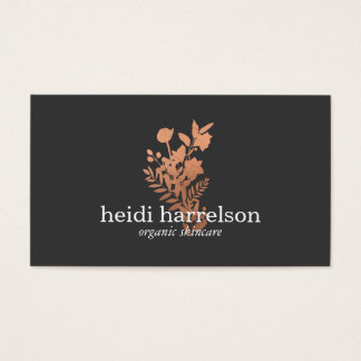 Rosen-Goldblumenlogo auf dunkelgrauem Visitenkarte