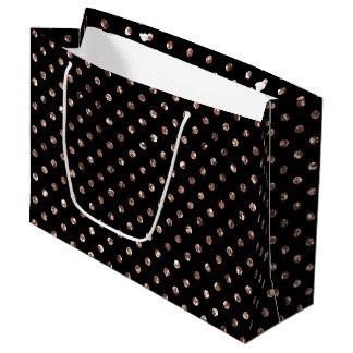Rosen-GoldGlitter-Polka-Punkt-Schwarz-große Große Geschenktüte