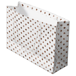 Rosen-GoldGlitter-Polka-Punkt-weiße große Große Geschenktüte
