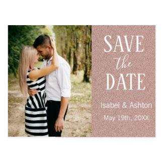 Rosen-GoldGlitzer modernes Wedding Save the Date Postkarte