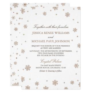 Rosen-GoldGlitzer-Winter-Märchenland-Hochzeit Karte