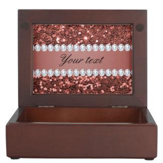 Rosen-GoldImitat-Glitter und Diamanten Erinnerungsdose