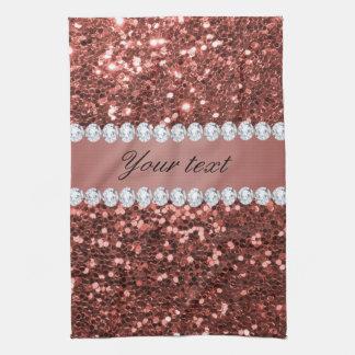 Rosen-GoldImitat-Glitter und Diamanten Handtuch