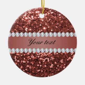 Rosen-GoldImitat-Glitter und Diamanten Keramik Ornament