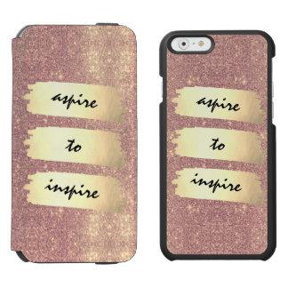 Rosen-GoldImitat-Goldfolien-Schein + streben Sie Incipio Watson™ iPhone 6 Geldbörsen Hülle