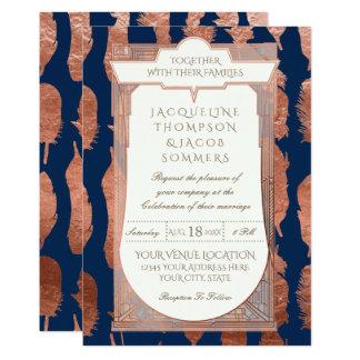 Rosen-Goldkunst-Deko-Kupfer-Hochzeit versieht Karte