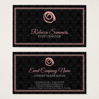 Rosen-Goldlogo-Schwarz-Damast Visitenkarte