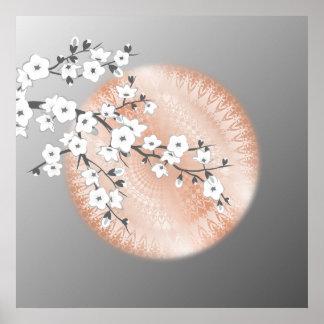 Rosen-Goldmandala-graue Kirschblüten Poster