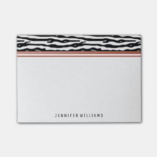 Rosen-Goldname des Zebra-Tierdruck-| Post-it Klebezettel