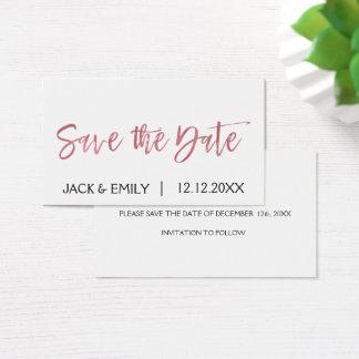Rosen-Goldrosa-Folie Save the Date Visitenkarte