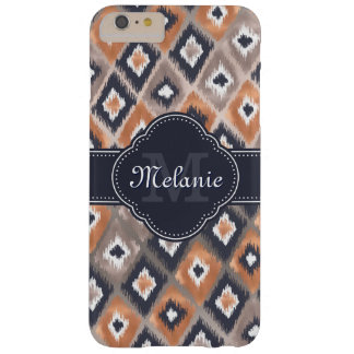 Rosen-Goldrosa Ikat Muster-Marine-Monogramm Barely There iPhone 6 Plus Hülle