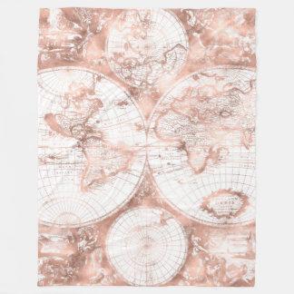 Rosen-Goldrosa-MetallGlitzer-Antiken-Weltkarte Fleecedecke