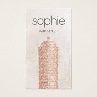 Rosen-Goldsequin-Haar-Stylist-Spray-Dosen-Salon Visitenkarten