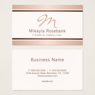 Rosen-Goldskript-Monogramm-beruflicher Berater Visitenkarte