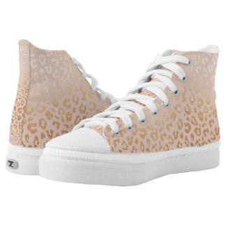 Rosen-Goldtierdruck-Muster Hoch-Spitze Turnschuhe Hoch-geschnittene Sneaker