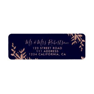 Rosen-Goldtypographieblattblumenmarineblauhochzeit