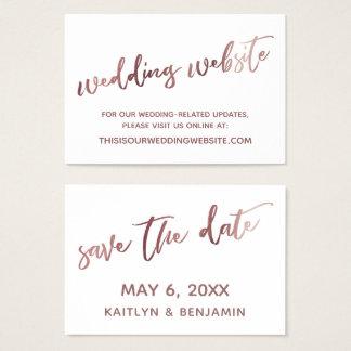 Rosen-Goldweiße Hochzeits-Website-Save the Date Visitenkarte