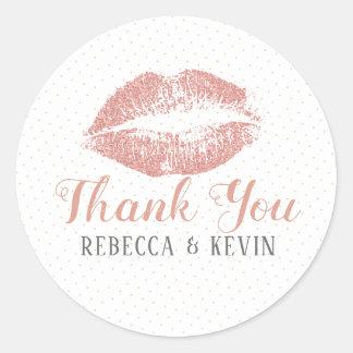 Rosen-Gols Lippenkuß danken Ihnen moderne Runder Aufkleber