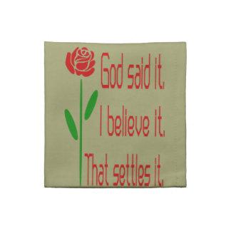 Rosen-Gott sagte es Stoffserviette