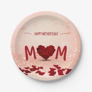 Rosen-Herz-Blumenstrauß der Mutter Tages- Pappteller