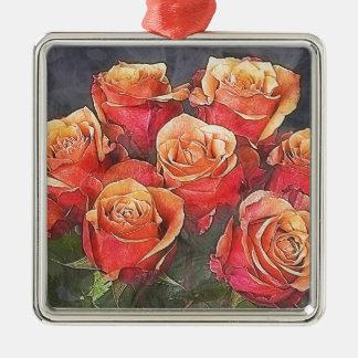 Rosen-Illustration Silbernes Ornament