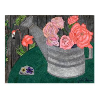 Rosen in der a-Bewässerungs-Dosen-Postkarte Postkarte
