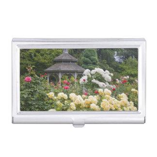 Rosen in der Blüte und in der Gazebo-Rose arbeiten Visitenkarten Etui