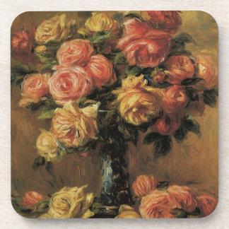Rosen in einem Vase durch Pierre Renoir, Vintage Getränkeuntersetzer