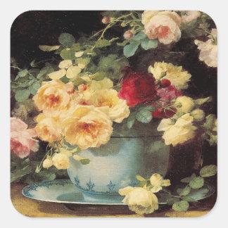 Rosen in einer blauen Schüssel - Aufkleber