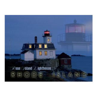 Rosen-Insel-Leuchtturm nachts, Rhode Island Postkarte