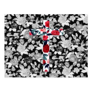 Rosen-Kreuz u. Schwarzweiss-Blumenmuster Postkarte