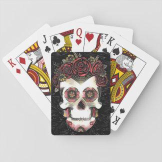 Rosen-Kronen-Zuckerschädel Spielkarten