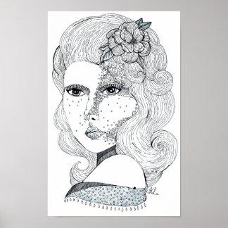 Rosen-Mädchen (B&W) Poster