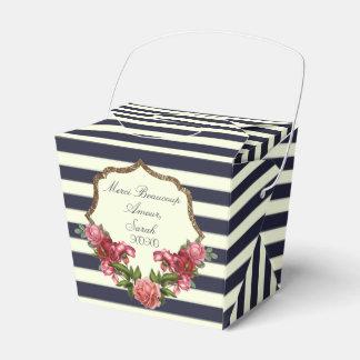 Rosen-Marine-blaue Streifen und Geschenkschachtel