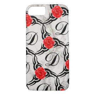 Rosen-Monogramm-Marmor-Druck-kundenspezifischer iPhone 8/7 Hülle