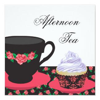Rosen-Nachmittags-Tee Quadratische 13,3 Cm Einladungskarte