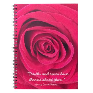 Rosen-Notizbuch mit Thoreau Zitat Notizblock