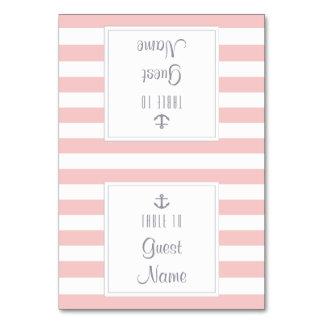 Rosen-Quarz-rosa u. weißer Streifen-Hochzeits-Name