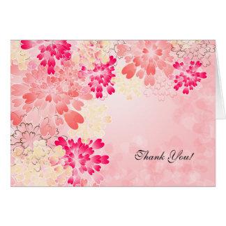 Rosen-rosa Champagne danken mit Blumenretro Ihnen Karte